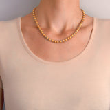 Victorian 14kt Etruscan + Rock Quartz Crystal Bead Necklace 17.5