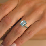 Art Deco French Platinum Aquamarine + Diamond Ring 3.00ct