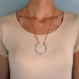 Edwardian Large 14kt/Platinum Diamond Horseshoe Pendant Necklace 3.50ctw