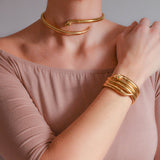 Retro German 14kt Rolled Gold Snake Bracelet + Choker Necklace Set