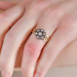 Early Victorian 14kt/Sterling Diamond Cluster Ring 0.50ctw