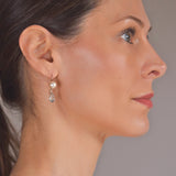 Vintage 14kt Teardrop Aquamarine + 8mm Pearl Earrings