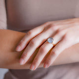 Arts and Crafts 14kt/Sterling Moonstone Ring