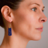 Late Art Deco Chinese 14kt Carved Sodalite Earrings