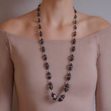 Art Deco Onyx + Rock Quartz Crystal Necklace 33