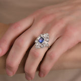 Edwardian Large Platinum Sapphire + Diamond Filigree Ring 1.40 center
