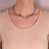 Victorian Sterling French Paste Riviera Necklace 15.75