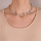 Vintage Sterling Silver Anchor Link Chain Necklace 16.5