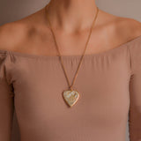 Victorian Large 15kt + Gold Quartz Heart Pendant