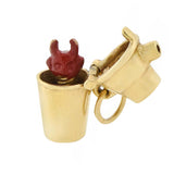 Vintage 14kt Red Enamel Hidden Devil in Shaker Charm