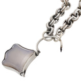 Victorian Sterling Agate Padlock Pendant + Chain Necklace 18.5