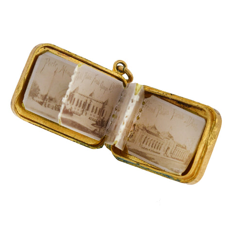 "Late Victorian Gold-Filled ""Souvenir de Paris"" Miniature Photo Album Charm"