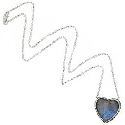 Late Art Deco Sterling Real Butterfly Wing Heart Pendant Necklace 16.25""