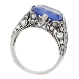 Georgian Sterling Ceylon Sapphire + Rose Cut Diamond Ring 8.00ct center
