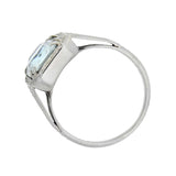 Art Deco 14kt White Gold Aquamarine Filigree Ring 5.00ct