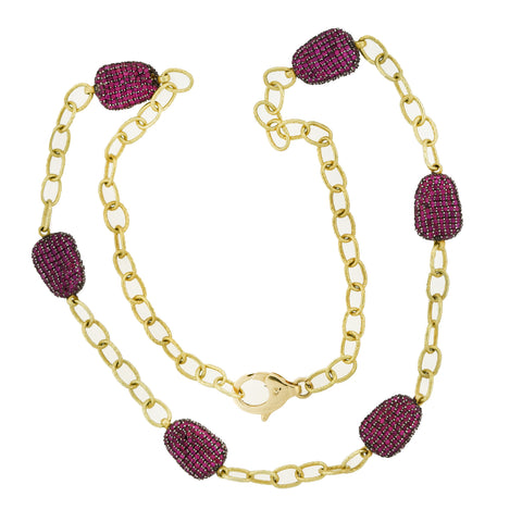 Estate 14kt Chain + Ruby Encrusted Link Necklace 22""