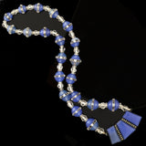 Art Deco Chalcedony, Rock Quartz Crystal + Marcasite Bead Necklace 15.5