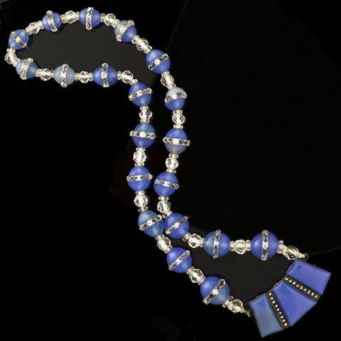 Art Deco Chalcedony, Rock Quartz Crystal + Marcasite Bead Necklace 15.5""