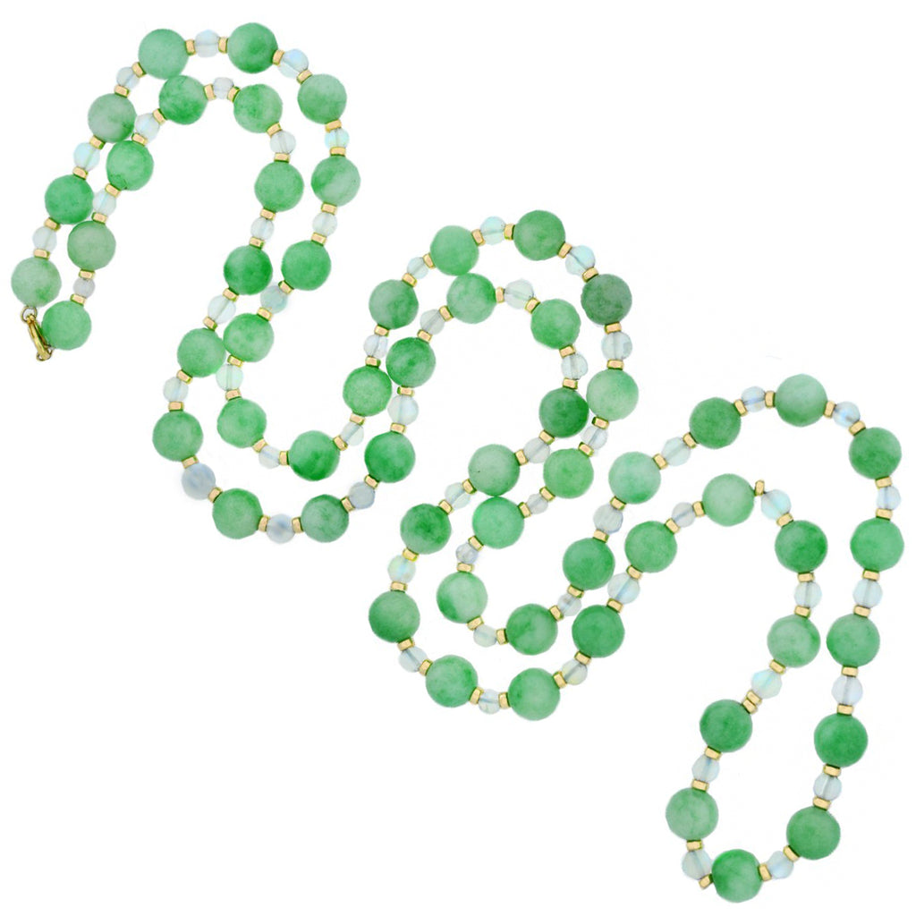 Art Deco Long 14kt Jade + Moonstone Bead Necklace 50.5""