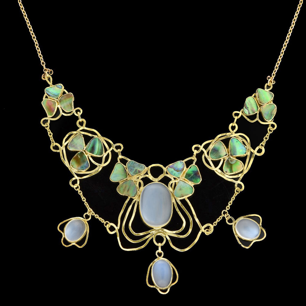 Arts and Crafts 14kt/10kt Moonstone + Inlaid Abalone Clover Leaf Festoon Necklace