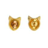 Late Victorian 9kt Gold Shell Fox Head + Garnet Stud Earrings