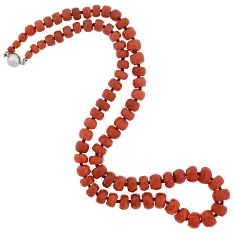 Vintage 14kt Natural Faceted Coral Bead Necklace 19.5""