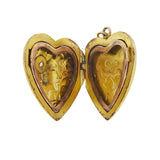 Art Nouveau 14kt Gold Diamond + Repousse Heart Locket
