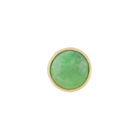 Vintage Petite 14kt Jade Cabochon Stud Earrings