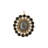 Victorian 14kt Pearl + Onyx Hair Mourning Locket Earrings