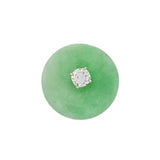 Estate 14kt Carved Jade + Diamond Stud Earrings 0.25ctw
