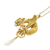 Art Nouveau 14kt Diamond, Demantoid Garnet + Natural Pearl Pendant Necklace 16