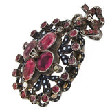 Victorian French Sterling Pink Tourmaline, Pearl + Enamel Locket/Pendant