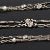 Edwardian Platinum Diamond + Pearl Chain Necklace 29.5