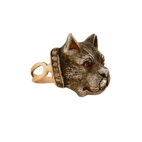 Victorian Mixed Metals Diamond, Ruby + Enameled Dog Ring