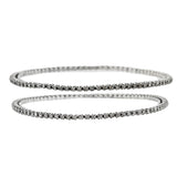 Victorian Style Sterling Rose Cut Diamond Bangle Bracelet Set 1.00ctw