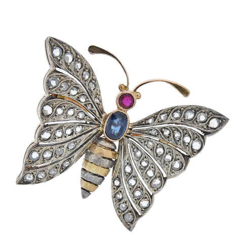 Retro 14kt/Sterling Diamond, Ruby, + Sapphire Butterfly Pin