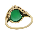 Late Art Deco 10kt Green Glass Cabochon Ring