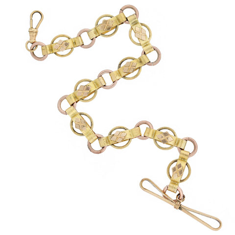 Victorian Gold-Filled Two-Tone Watch Chain + Toggle 10.75""