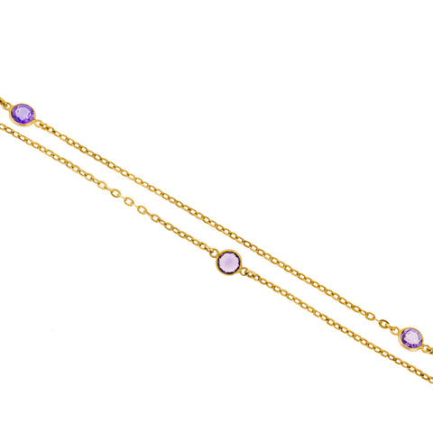 Art Nouveau 14kt Amethyst Chain Necklace 52""
