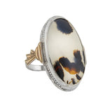 Art Deco Large Sterling/10kt Moss Agate Ring