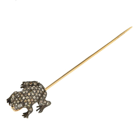 Victorian 15kt/Sterling Diamond Frog Stick Pin