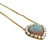 Victorian Gold-Filled Saphiret Glass + French Paste Heart Pendant Necklace 17