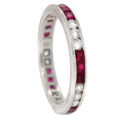 Retro Platinum Ruby + Diamond Eternity Band