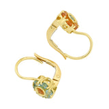 Estate 18kt Citrine + Aquamarine Cluster Contrast Earrings