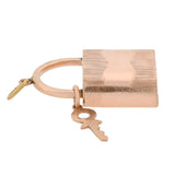 Victorian 14kt Rose Gold Padlock + Skeleton Key Pendant