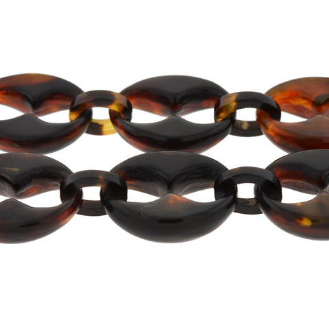 Victorian Tortoise Shell Anchor Link Chain Necklace 30.5""