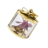 Retro 18kt + Enamel Miniature Coursage Box With Orchid Charm