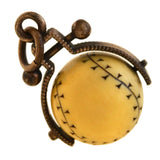 Victorian Brass + Carved Ivory Baseball Spinner Fob