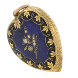 Victorian 18kt Blue + Black Enameled Diamond Heart Locket