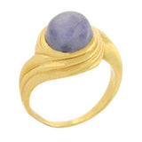 Estate 14kt Gold Spiral Star Sapphire Cabochon Ring